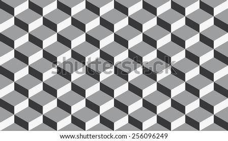 Seamless isometric flattened cubes optical illusion pattern - stock photo