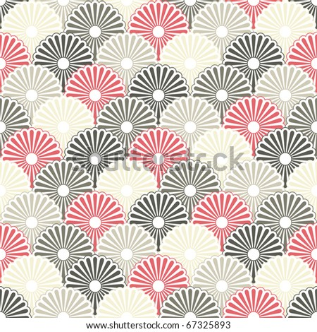 Seamless Japanese pattern in pastel colors - stock photo