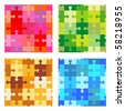 Seamless jigsaw puzzle patterns - red, green, tan and brown, blue ( for vector EPS see image 58218958 ) - stock photo