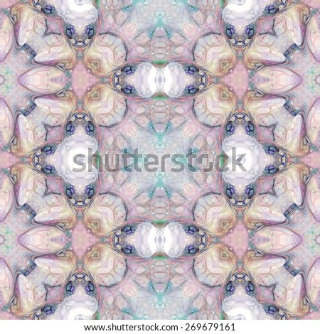 Seamless kaleidoscope texture or pattern in pastel colors 5 - wallpaper pattern - stock photo