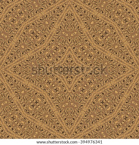 Seamless kaleidoscopic wallpaper tiles pattern based on natural wooden texture, inlay