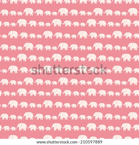 Seamless kid pattern with elephants - stock photo