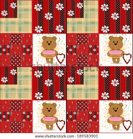 Seamless kids pattern with teddy bears patchwork background - stock photo