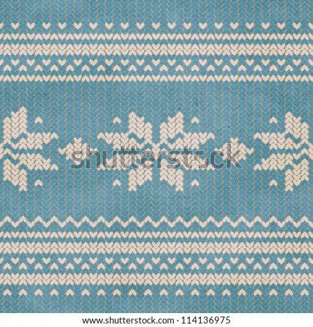 Seamless knitted pattern. Can be combined with plain knitted background. - stock photo