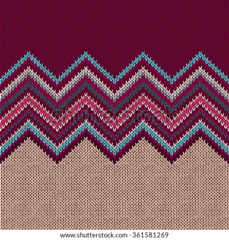 Seamless knitted pattern. Style blue beige red vinous ethnic geometric background - stock photo