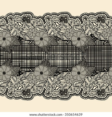 Seamless lace ribbon with black cloth in the center. For the design of wedding cards and invitations in vintage style. Rasterized version. - stock photo