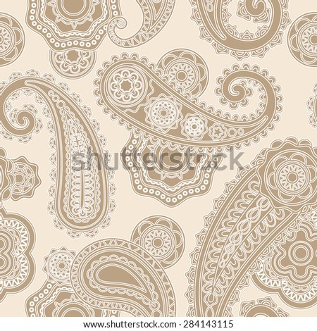 Seamless lacy pattern paisley background with traditional asian elements