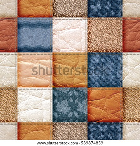 seamless leather and jeans patchwork background 3D illustration