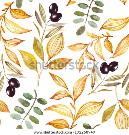 Seamless leaves and olive pattern