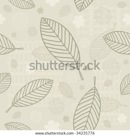 Seamless Leaves Background With Space For Text (in the gallery also available vector version of this image)