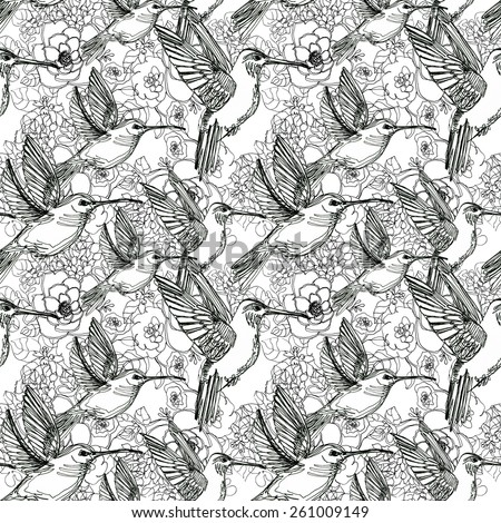 seamless line art background, flora tropical flowers, birds and leaves. - stock photo