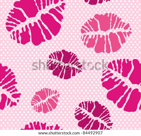 Seamless lipstick kiss print pattern in different pink tones - stock photo