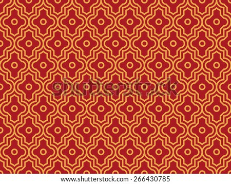 Seamless luxury red and gold enhanced moroccan pattern - stock photo
