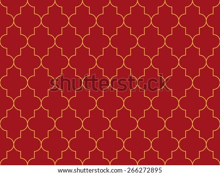 Seamless luxury red and gold moroccan pattern - stock photo