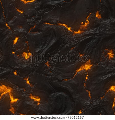 Seamless magma or lava texture with a melting material flowing among hot rocks - stock photo