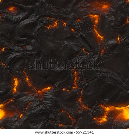 Seamless magma or lava texture with melting rocks and fire - stock photo