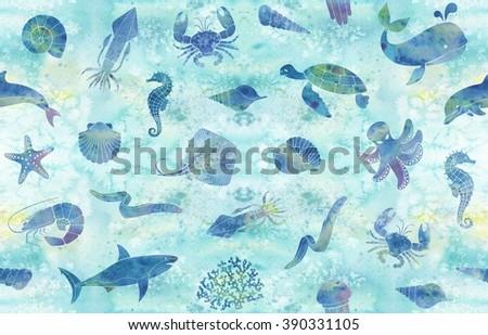 Seamless marine background - stock photo