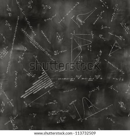 seamless math physics formulas on chalkboard - stock photo