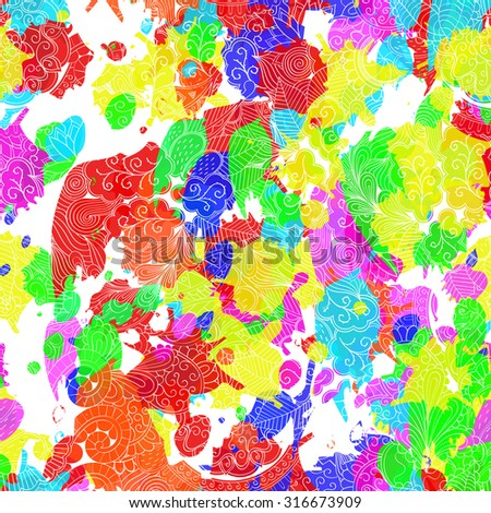 Seamless mehndi tracery pattern with ink blots. Handmade ornament. Curved lines, doodling design. Good for site background. Colorful illustration ink spots, digital imitation of the traditional style. - stock photo