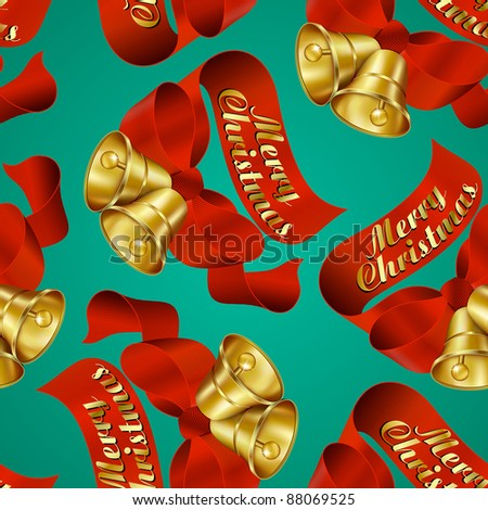 Seamless Merry Christmas Bells wrapping paper pattern. - Raster Version - stock photo