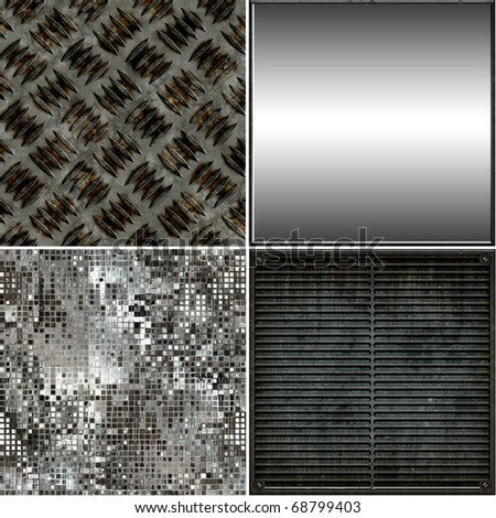 Seamless Metal Textures Set - stock photo