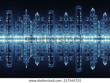 Seamless modern city skyline at night with illuminated skyscrapers with reflection water surface - stock photo