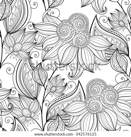 Seamless Monochrome Floral Pattern. Hand Drawn Floral Texture, Decorative Flowers, Coloring Book