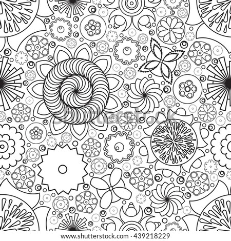 Seamless monochrome floral pattern. Imitation of hand drawn flower doodle texture, decorative coloring book for grown up and adult. Endless drawing for stress relief. Zentangle. - stock photo