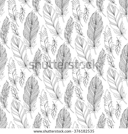 Seamless Monochrome Pattern with Doodle Feathers. Boho Style Romantic Collection - stock photo