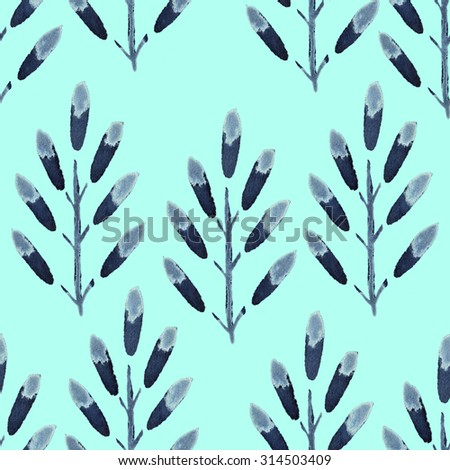 Seamless monochrome vintage floral watercolor background with subtitles leaves. Autumn nature pattern. Hand painted.
