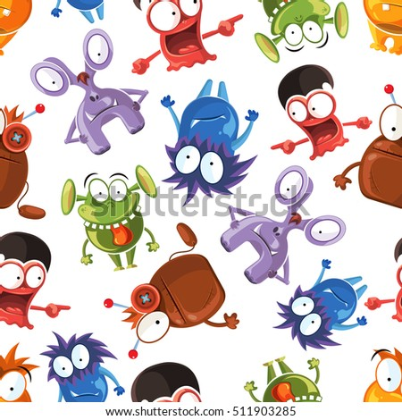 Seamless monster pattern. Design background halloween with monster character and comic happy monster. Stock illustration