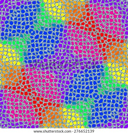 Seamless mosaic pattern in rainbow colors - stock photo