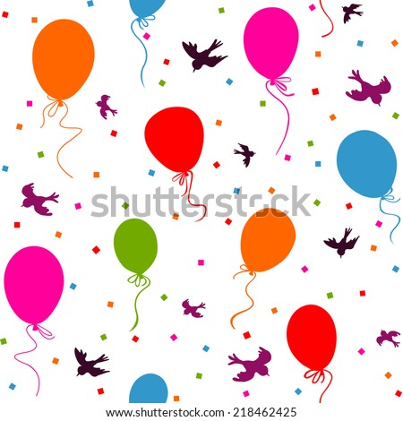 seamless - multicolor balloons flying in the sky with birds and confetti on white background - stock photo