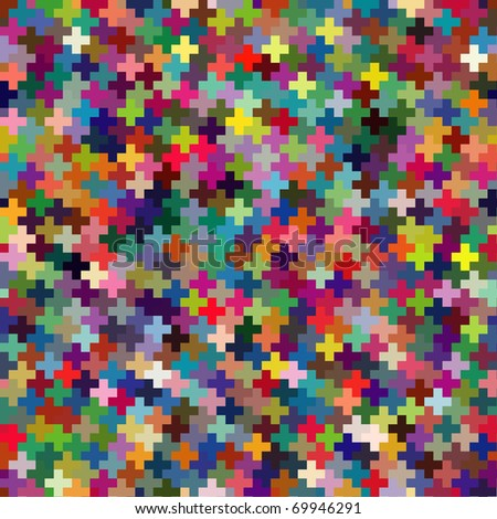 Seamless multicolor puzzle block background. Vector version available. - stock photo