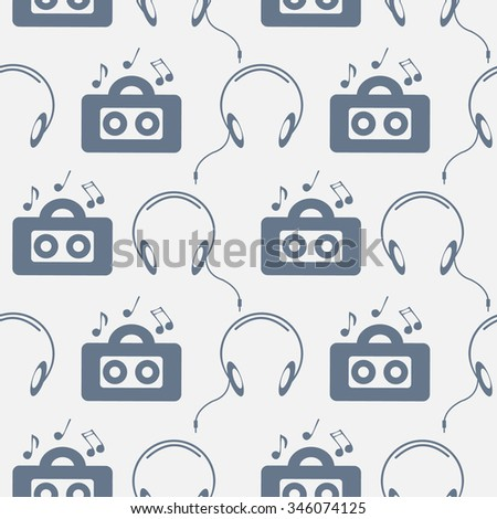 Seamless music raster pattern, chaotic background with music player, headphones, notes, record, over light backdrop