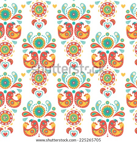 Seamless Natural and floral background, colorful ornament with birds - stock photo