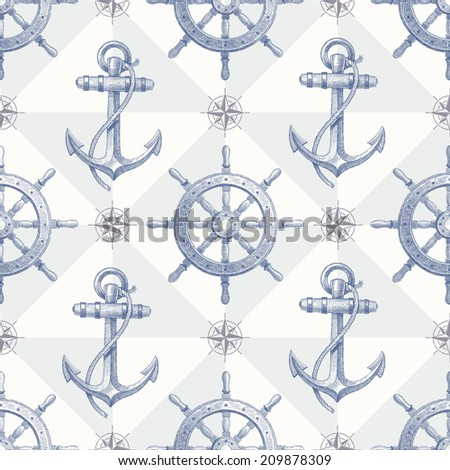 Seamless nautical background with hand drawn elements - ship steering wheel and anchor - stock photo
