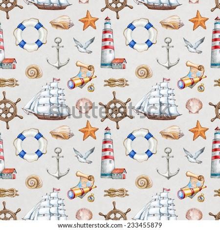 Seamless nautical pattern - stock photo