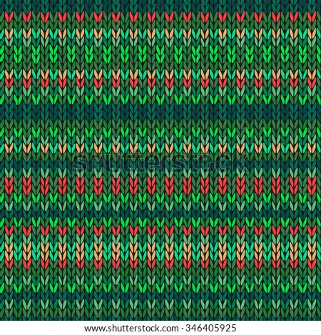 Seamless Needlework Background, Red Orange Green Ornamental Knitted Pattern