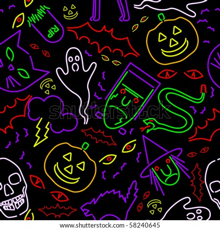 Seamless neon Halloween - raster - stock photo