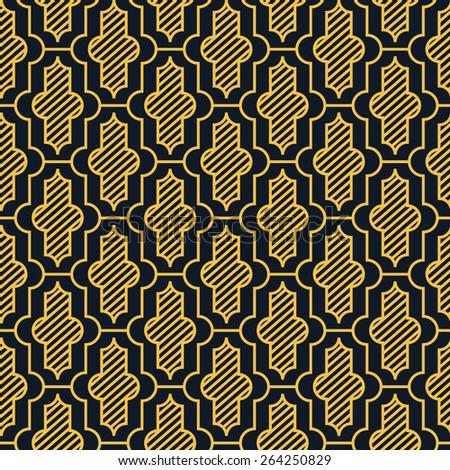 Seamless neon orange vintage moroccan pattern - stock photo