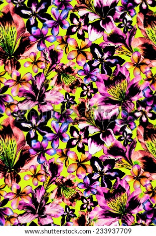 seamless neon tropical pattern. young and trendy, block print look. made of exotic flower heads, looks like a flowerbed. very dramatic, with hibiscus,frangipani, alstroemeria, lily flowers. - stock photo
