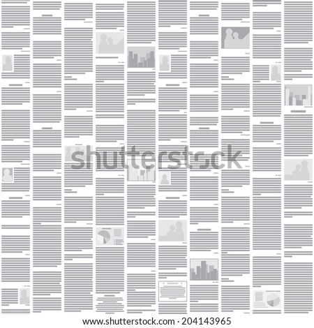 Seamless newspaper pattern - abstract monochrome background for design - stock photo