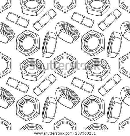 Seamless of hexagon nuts on white background - stock photo