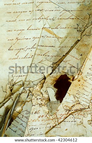 Seamless old letter texture. Very useful, he old book. The old manuscript - stock photo