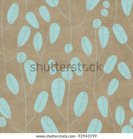 Seamless old paper textured background with leafy pattern - stock photo