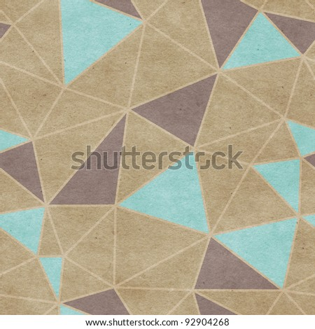 Seamless old paper textured triangle background - stock photo