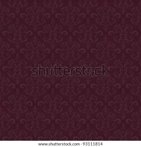 Seamless old wallpaper pattern - wine-red - stock photo