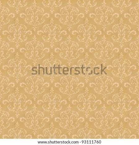 Seamless old wallpaper pattern - yellow - stock photo