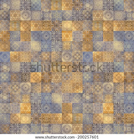 seamless ornament background, vintage ornate pattern, gold and silver patchwork tiles - stock photo